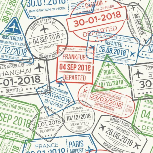 ilustrações, clipart, desenhos animados e ícones de padrão sem emenda da viagem visto aeroporto selos. documento de viagem, padrões de carimbo torno ou passaporte vector fundo - passaporte e visto