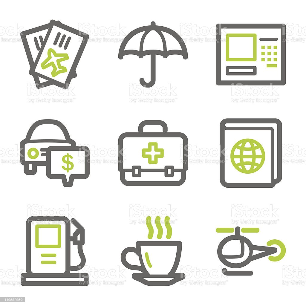 Travel web icons set 4, green and gray contour series royalty-free travel web icons set 4 green and gray contour series stock vector art & more images of aids