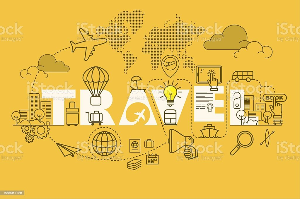 Travel web page banner concept with thin line flat design ベクターアートイラスト