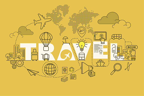 travel web page banner concept with thin line flat design - 旅行代理店点のイラスト素材/クリップアート素材/マンガ素材/アイコン素材
