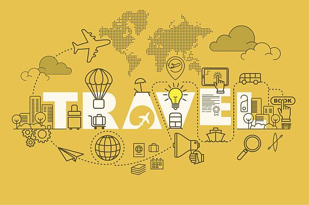 travel web page banner concept with thin line flat design - reisebüro stock-grafiken, -clipart, -cartoons und -symbole