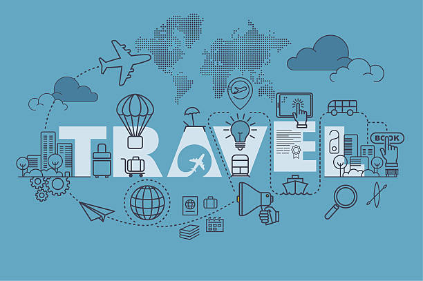 Travel web page banner concept with thin line flat design Travel web page banner concept with thin line flat design vector illustration eps-10. travel agency stock illustrations