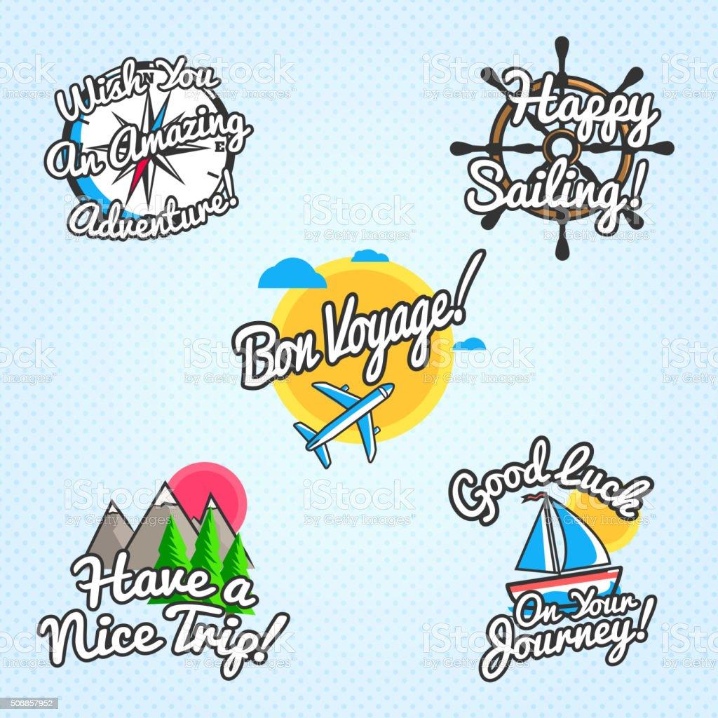 Reisen Wünsche und Grüße Satz. Vektor-illustration für Touristische Begrüßung – Vektorgrafik
