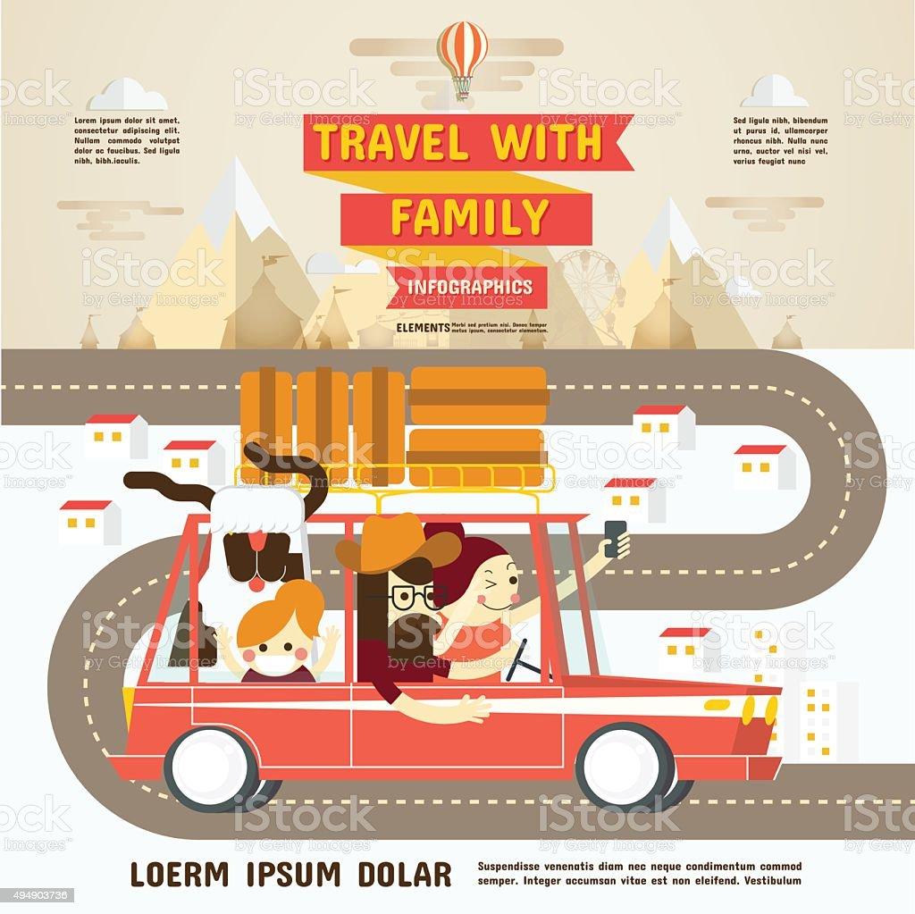 Viaje con su familia infografías - ilustración de arte vectorial
