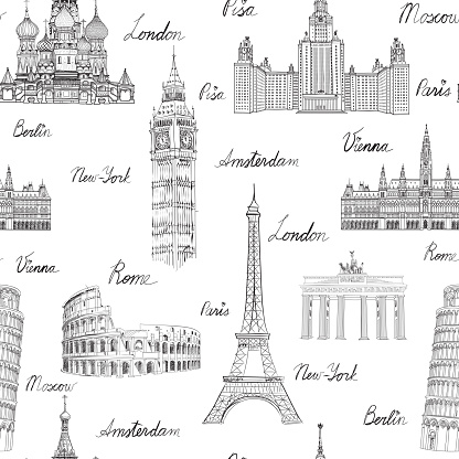 Travel wold landmarks seamless doodle pattern. Europe famous places sketch