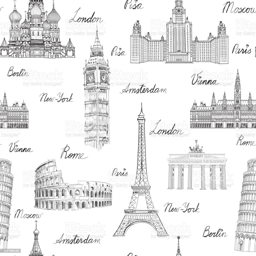Travel wold landmarks seamless doodle pattern. Europe famous places sketch vector art illustration