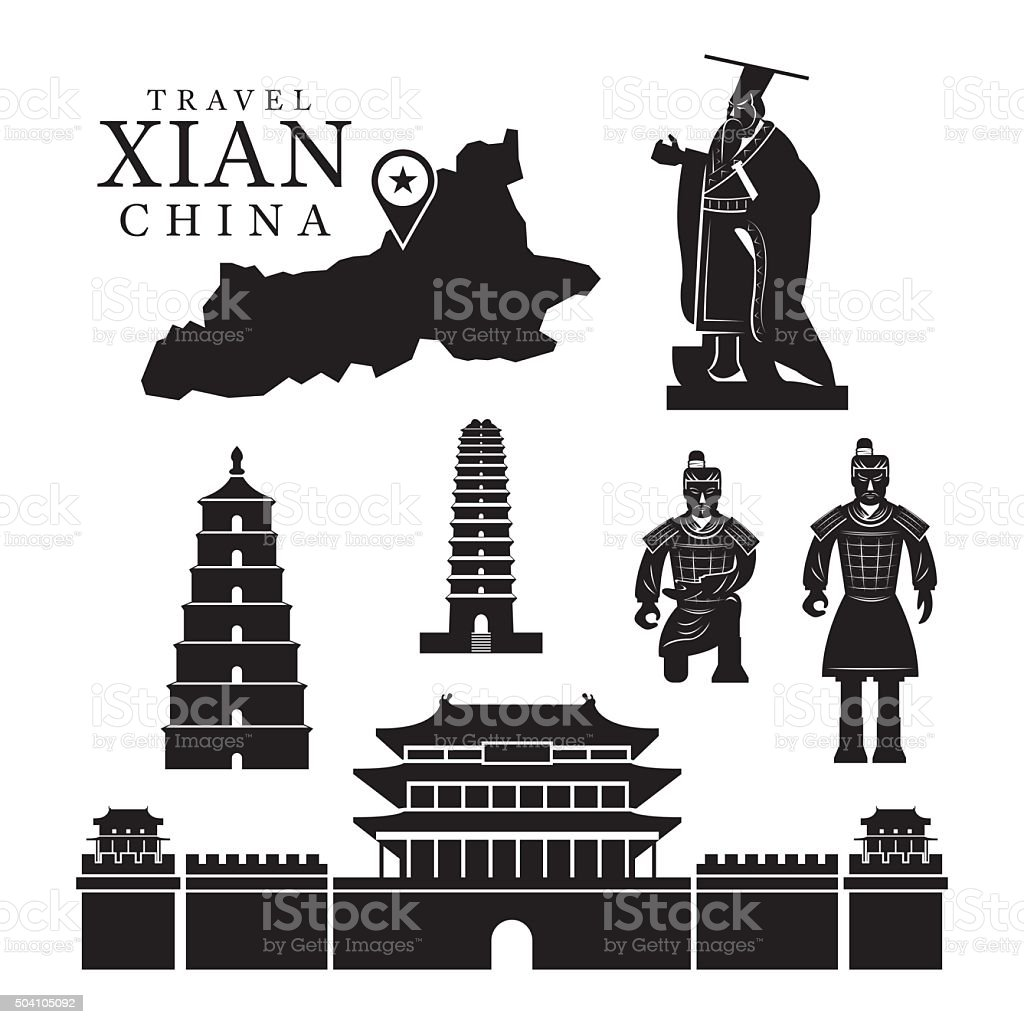 Travel Xian, China, Objects Mono Set vector art illustration