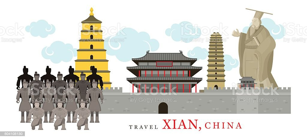 Travel Xian, China vector art illustration