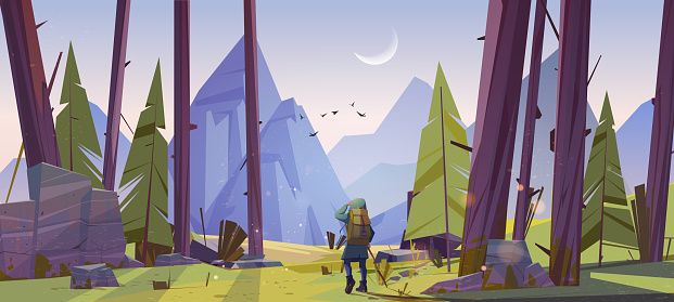 Traveler at forest with mountains view at morning. Travel journey, adventure. Tourist with backpack stand at rocky landscape look into the distance on high peak, hiking, Cartoon vector illustration