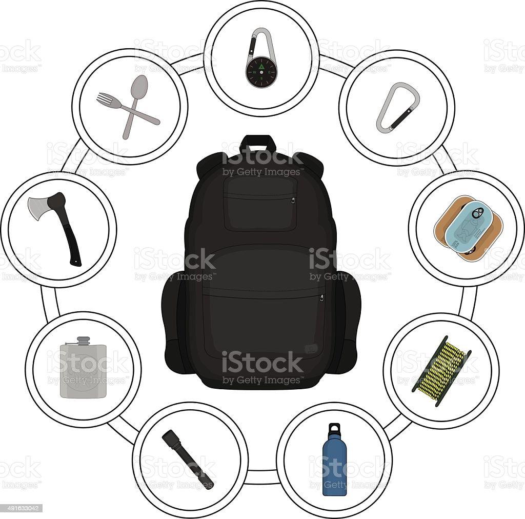 Traveler black backpack contents vector art illustration