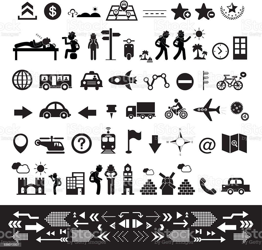 traveler explorer icon set vector art illustration
