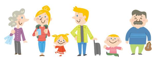 Traveler family vector art illustration