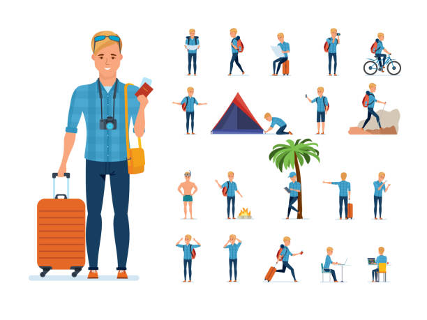 traveler in situations: gathering, searching for route, bathing, rest, hiking - tourist stock illustrations