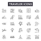 Traveler line icons for web and mobile. Editable stroke signs. Traveler  outline concept illustrations