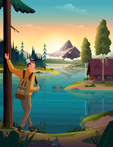 Traveler looking at the mountain lake and hut on coast. Landscape of discovery, hiking, adventure and travel.