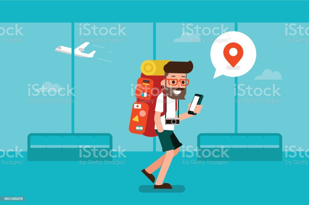 Traveler man using mobile phone in airport. vector art illustration