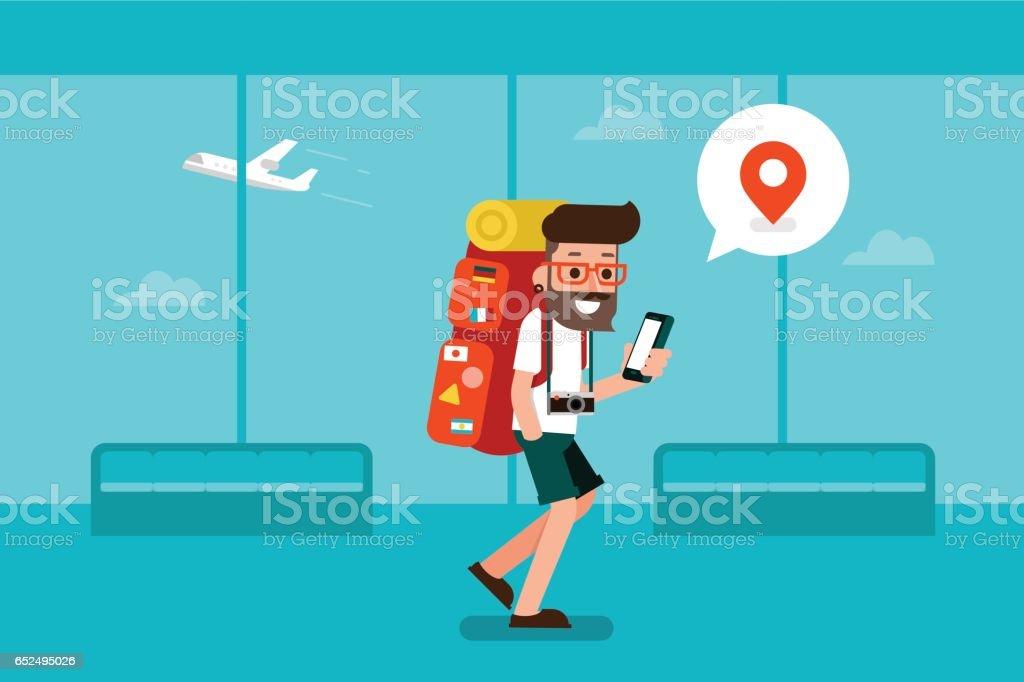 Traveler man using mobile phone in airport. vector art illustration