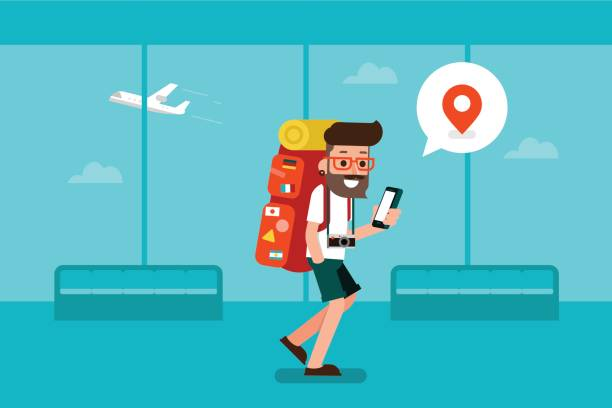 traveler man using mobile phone in airport. - tourist stock illustrations