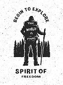 Traveler on the forest background. Hand drawn emblem.