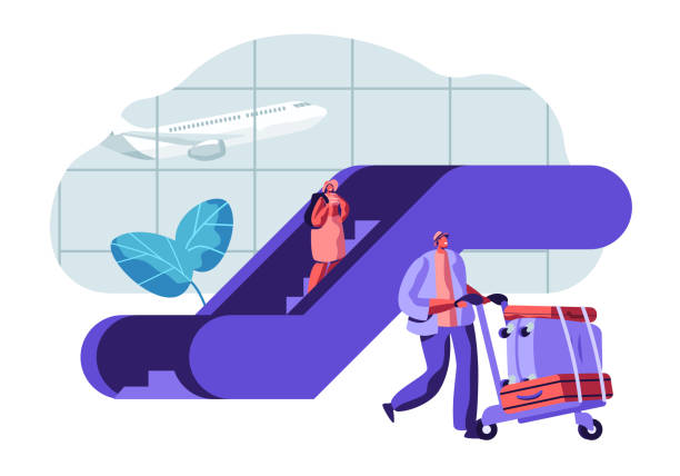 illustrazioni stock, clip art, cartoni animati e icone di tendenza di traveler passengers waiting for departure in airport. people characters with baggage in airport terminal and flying plane. vector flat illustration - escalator