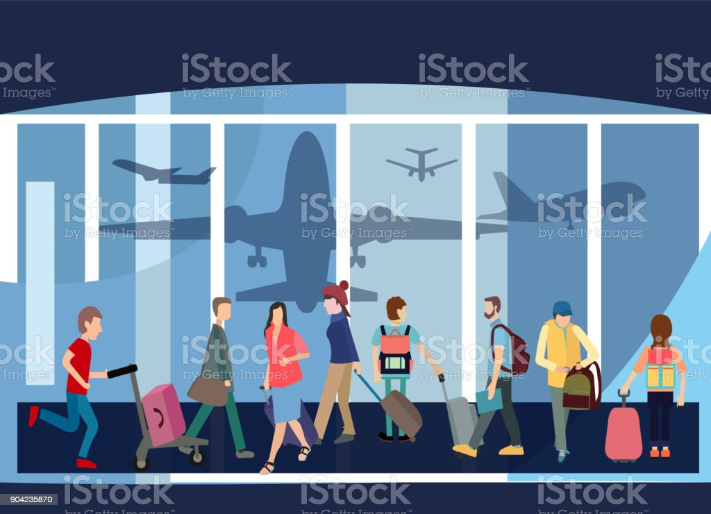 Traveler People Airport Hall Departure Terminal Travel Baggage Bag Suitcase vector art illustration