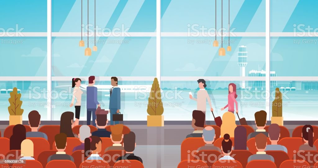 Traveler People in Airport Hall Departure Terminal Travel, Passenger Sitting in Waiting Room vector art illustration