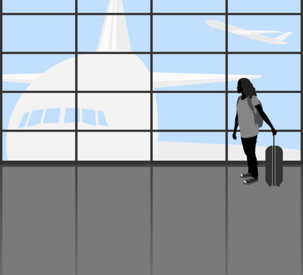 Traveler people Traveler people vector silhouette young woman in the Airport transportation background.Illustration is an eps10 flle airport silhouettes stock illustrations