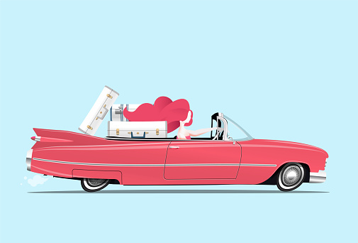 Traveler redhead girl is driving a red car with luggage on backseats. Traveling woman. Cartoon styled vector illustration.