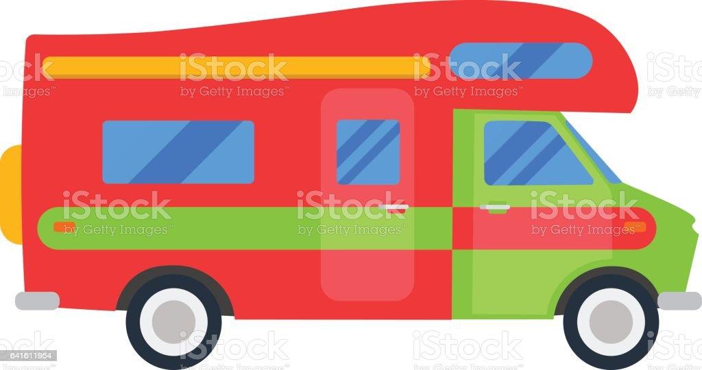 Ilustración de Carro Viajero Aislado Ilustración Casa Rodante Motor ...