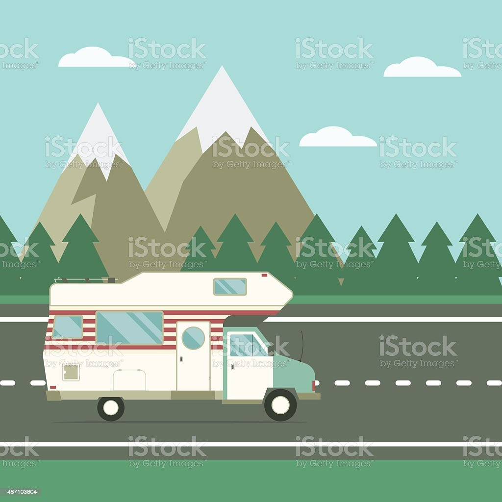 Traveler Truck on the Road on Countryside Landscape vector art illustration