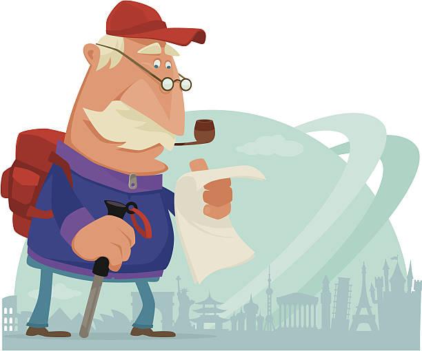 traveler - old man funny cartoon stock illustrations, clip art, cartoons, & icons