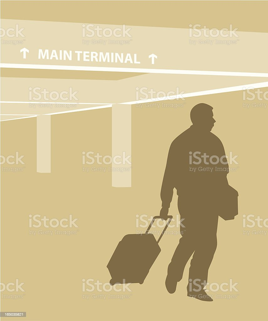 Traveler Walking with Carry-On royalty-free stock vector art