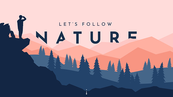 Traveler walks. Travel concept of discovering, exploring and observing nature. Hiking. Adventure tourism. The guy walking with backpack and travel walking sticks. Website template. Natural wallpaper