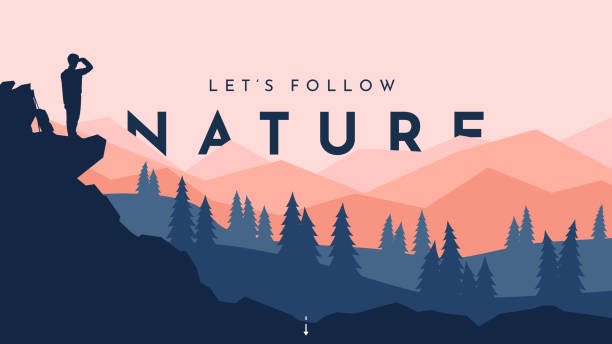 Traveler walks. Travel concept of discovering, exploring and observing nature. Hiking. Adventure tourism. The guy walking with backpack and travel walking sticks. Website template. Natural wallpaper Traveler walks. Travel concept of discovering, exploring and observing nature. Hiking. Adventure tourism. The guy walking with backpack and travel walking sticks. Website template. Natural wallpaper adventure stock illustrations