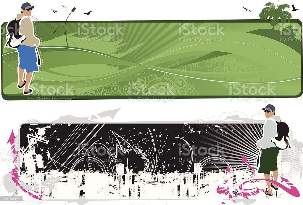 트레블러스 배너입니다 royalty-free 트레블러스 배너입니다 가방에 대한 스톡 벡터 아트 및 기타 이미지