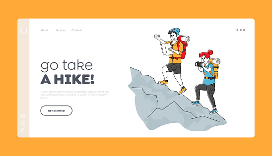 Travelers Hiking Adventure Vacation Landing Page Template. Backpacker Characters Learning Map and Make Photo Climbing on Rock. Tourists Walking Route Outdoor. Linear People. Linear Vector Illustration