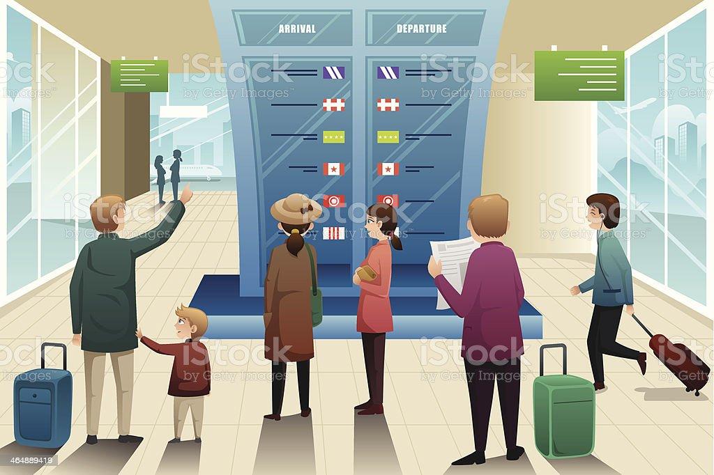 Travelers looking at departure board royalty-free stock vector art