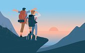 Travelers man and woman with backpack standing of mountain and looking sunrise over the sea. Concept of hiking, adventure tourism travel and discovery. Explorer flat vector illustration