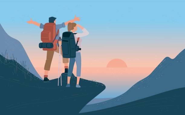 Travelers man and woman with backpack standing of mountain and looking sunrise over the sea. Concept of hiking, adventure tourism travel and discovery. Explorer flat vector illustration. Travelers man and woman with backpack standing of mountain and looking sunrise over the sea. Concept of hiking, adventure tourism travel and discovery. Explorer flat vector illustration hiking stock illustrations