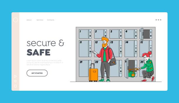 illustrazioni stock, clip art, cartoni animati e icone di tendenza di i viaggiatori con borse utilizzano il modello di pagina di destinazione del deposito bagagli. i personaggi mettono le borse negli armadietti con le chiavi in aeroporto - grocery home