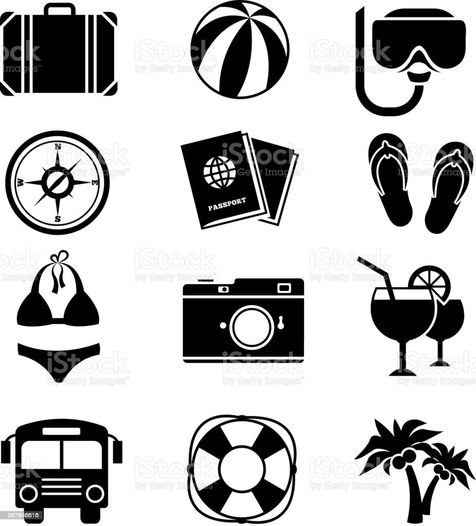 Traveling and vacation flat icons vector art illustration
