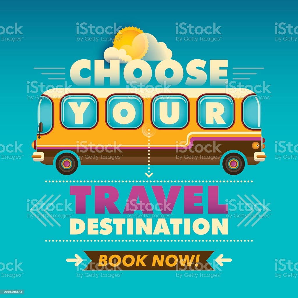 Traveling background with bus. vector art illustration