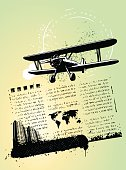 traveling background with stamp airplane and city