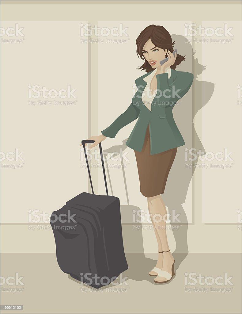 Traveling Business Woman - Royaltyfri Affärskvinna vektorgrafik