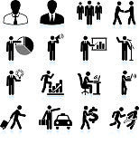 Traveling Businessman black and white icon set