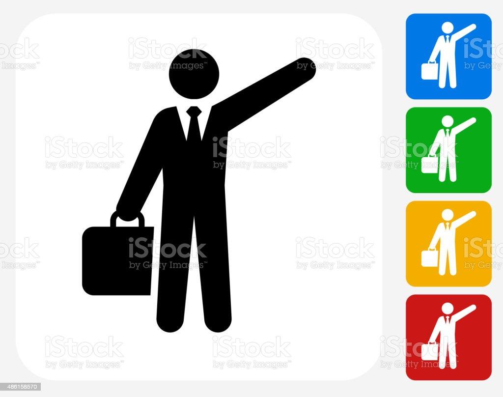 Traveling Businessman Icon Flat Graphic Design vector art illustration