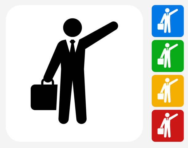 Traveling Businessman Icon Flat Graphic Design Traveling Businessman Icon. This 100% royalty free vector illustration features the main icon pictured in black inside a white square. The alternative color options in blue, green, yellow and red are on the right of the icon and are arranged in a vertical column. hailing a ride stock illustrations