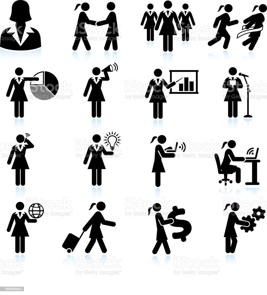 Traveling Businesswoman black and white royalty free vector icon set vector art illustration