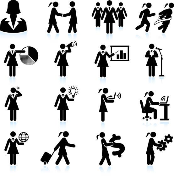 ilustraciones, imágenes clip art, dibujos animados e iconos de stock de viajando mujer de negocios en blanco y negro sin royalties de conjunto de iconos vectoriales - ejecutiva