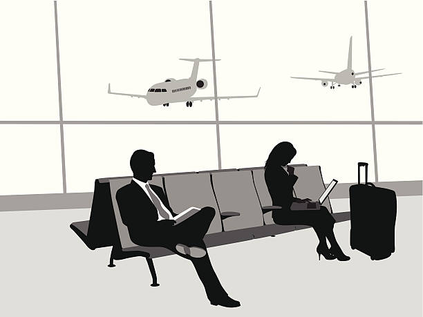 Traveling By Airplane Vector Silhouette A-Digit airport silhouettes stock illustrations
